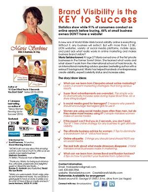 Maria Serbina media sheet TV and radio